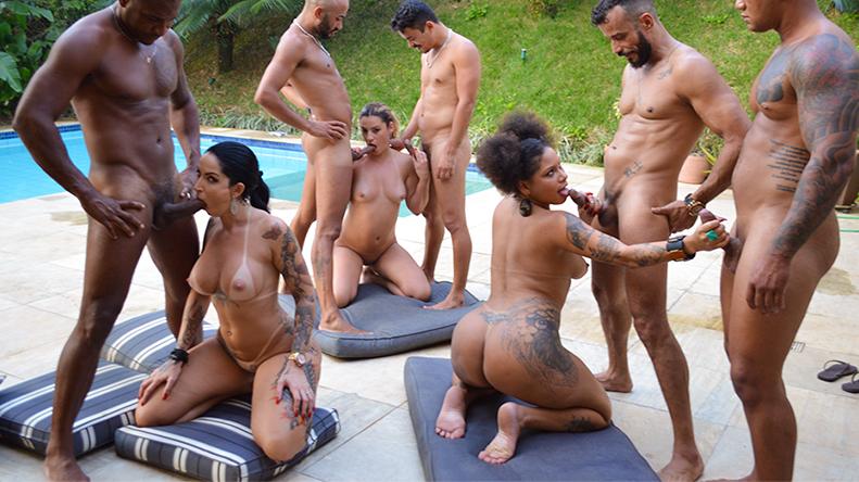 Orgia na piscina com as estrelas do pornô nacional
